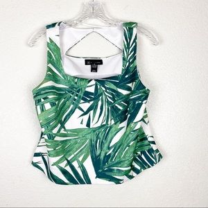 INC Botanical Tropical Boxy Crop Top Size Medium